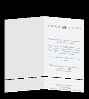 Klassieke uitnodiging met kroontje in het blauw - Maak een hoofdbord aan ...