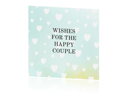 Lieve Happy Wishes Card met watercolor hartjes