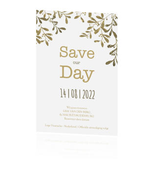 Save the Date kaart met goud look