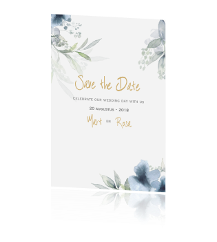 Klassiek Save the Date kaart met aquarel bloemen