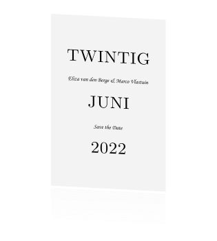 Moderne Save the Date met grote datum