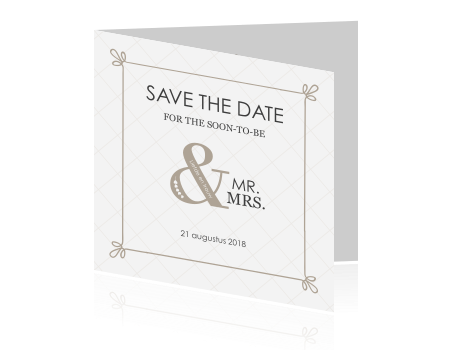 Trendy Save the Date kaart met mr en mrs en een kader