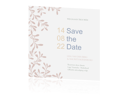 Hippe Save the Date met takjes in pastel
