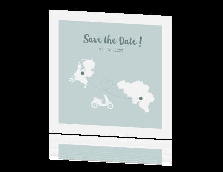 save the date kaart voor een bruiloft in belgie