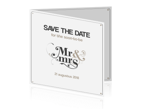 Save the Date met MR en MRS in het taupe
