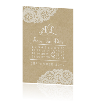 Vintage Save the Date met kant, kraft en kalender