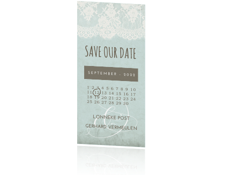 Trendy Save the Date met vintage details