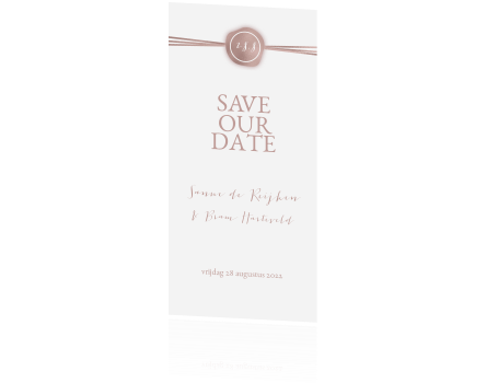 Originele Save the Date met folie look en zegel