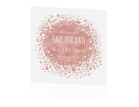 Save the Date kaart met rose goud sterretjes
