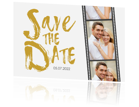 Save the Date kaart met filmstrip en stoere letters
