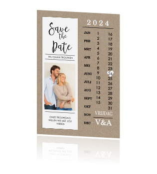 Orignele Save the Date met kalender en foto