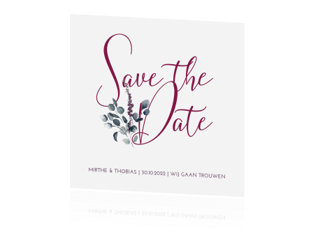 Trendy Save the Date met takjes in paars en foto