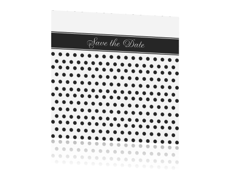 Speelse Save the Date kaart om polka dots