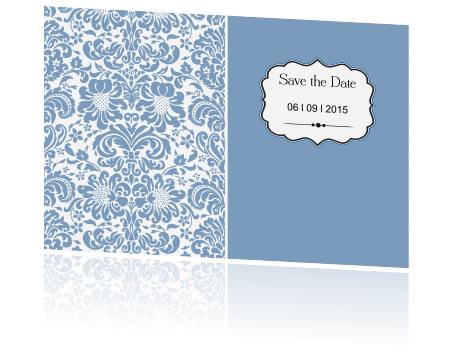 Vintage Save the Date kaarkaart met een barok label