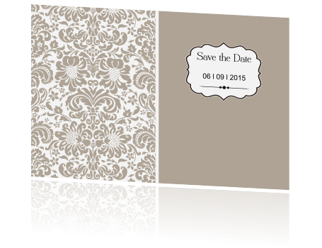 Vintage Save the Date kaart met een barok label