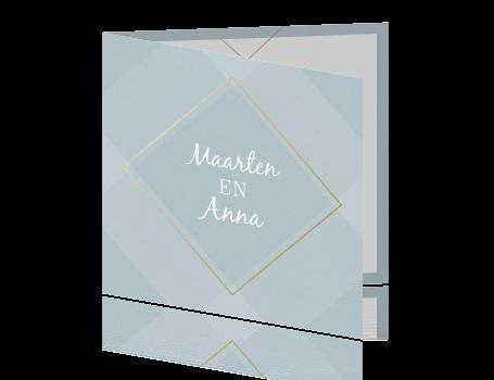 Sfeervolle trouwkaart met foto en gouden ruit vormen for Sfeer en chique