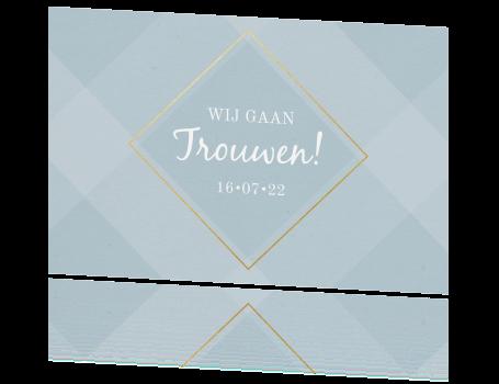 Chique trouwkaart met gouden ruit vormen for Sfeer en chique