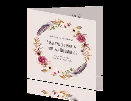 Trouwkaart Met Unieke Krans In Thema Bohemian