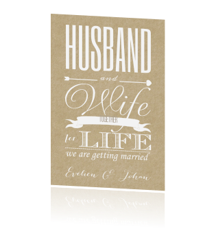 Husband and wife together for life typografisch trouwkaart
